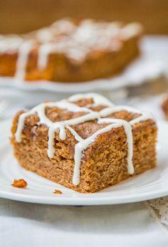 Brown Sugar Topped Cinnamon and Sugar Coffee Cake with Vanilla Cream Cheese Glaze