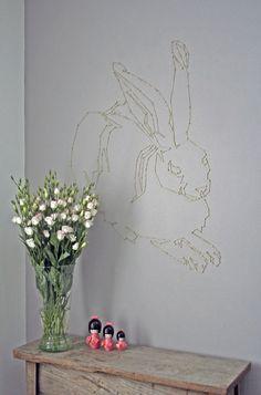 String art above table    Dürer Hare