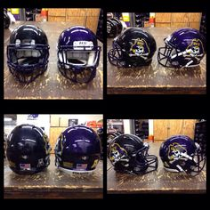 Here are the freshly decaled black and purple helmets for East Carolina University football. Look great, play great!  #footballhelmetdecals #footballdecals #helmetdecals #helmetswag #uniswag #healyawards