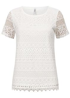 Hailys Damen Crochet T-Shirt off weiss - 77onlineshop