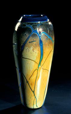 """""""Golden Gem Vase - Aquamarine""""  Art Glass Vase  Created by Cristy Aloysi and Scott Graham"""