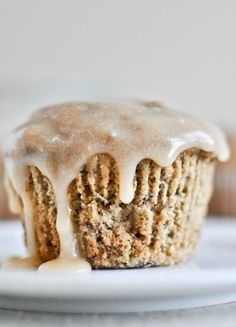 Whole Wheat Banana Spice Muffins with Brown Butter Glaze   howsweeteats.com