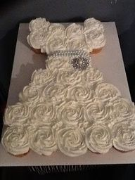Bridal shower pull-apart cupcake cake. Cute idea - great for a girls birthday party!