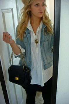Jean Jacket outfit with White cuffed shirt - Black skirt - Black leggings - Long necklace