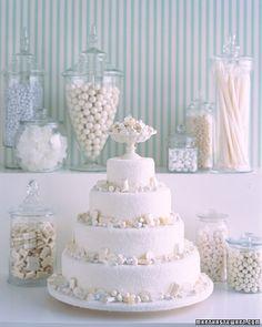 White Candy Waterfall Cake, Martha Stewart Weddings, Wedding Cake