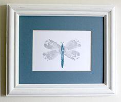 Modern Nursery Art Baby Feet Dragonfly by ByKathrynTherese