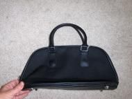 Price $9.97 Lancome black microfiber bag with zipper closure over top of bag to secure. Double handles and metal feet. Inside is lined in a plastic wi...