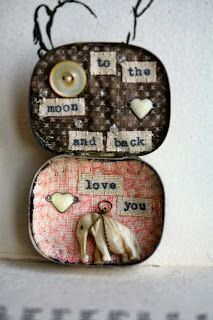 """Little Burrow Designs - """"Moon and Back"""" Reworked Vintage items - Assemblage Art https://www.facebook.com/LittleBurrowDesigns"""