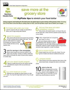 10 Tips: 'Save More at the Grocery Store' #MyPlate #couponing #tipsheet #savemoney #spendless http://go.usa.gov/8XVB
