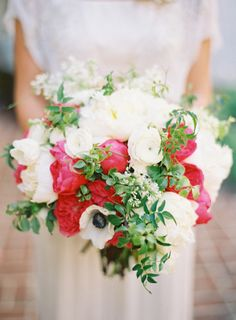 Elegant White Hot Pink Bouquet | floral design by http://www.kellykaufmandesign.com/ | photography by http://jenhuangphoto.com/