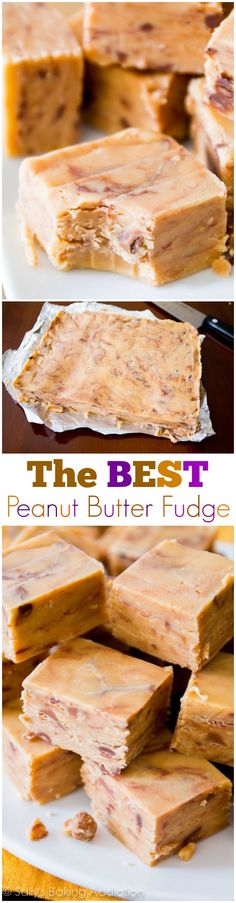 An easy recipe for creamy, decadent peanut butter fudge! Only 4 ingredients. peanut butter fudge, candi, ingredi peanut