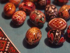 This image is of Ukrainian Easter eggs, entered into the Cleveland Memory project at the Cleveland State University Library in January 1979. A grown-up version of Easter egg dyeing - try blown eggs, delicate paintbrushes, and stencils for a similar effect.