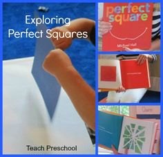 Exploring Perfect Squares by Teach Preschool.  Can also used as a discovery project, an art project, a math project . . .very open-ended! books, math projects, perfect squar, preschool math lessons, explor perfect, teach preschool, extensions, art projects, kid