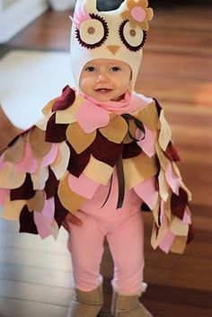 @Stefany Grainger.  You may already have both girls costumes figured out but I thought of you when I saw this.  Not sure why but it's soo cute.    Too Hootin' Cute! Owl costume with instructions. Trip to the fabric store and if you can glue and cut felt as well as sew a button, you can easily make this costume.