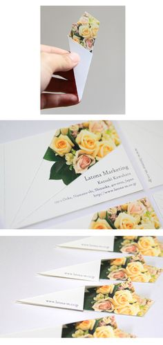 Business card bouquet- Though I am not sure what a bouquet of flowers has to do with a marketing company I think that this is an interesting business card design, how it folds to look like a bouquet. However I think it would more effective if it was a card for a florist.