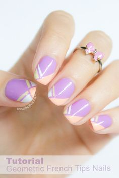 Geometric French Tip Nails. Tutorial here: http://sonailicious.com/geometric-french-tip-nails-tutorial/
