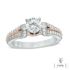 Vera Wang LOVE Collection 1-1/4 CT. T.W. Diamond Collar Engagement Ring in 14K Two-Tone Gold