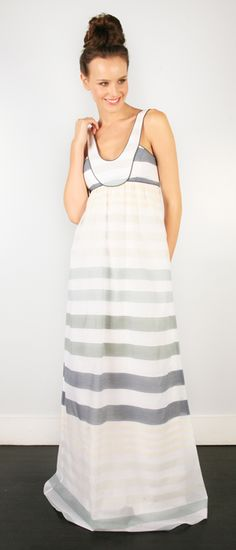 thread social grey striped cotton empire maxi dress