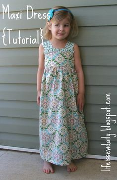 Girls Maxi Dress tutorial.