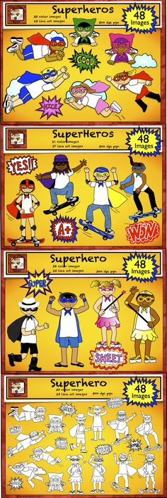 Superhero clip art set with 48 images for only $3.  Check out this super deal at Charlotte's Clips http://www.teacherspayteachers.com/Product/Superhero-Clip-Art-Set-with-Word-Art-716867