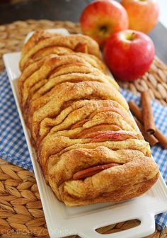Apple Pie Pull Apart Bread with Vanilla Glaze—blink and it'll be gone, so make sure you get some! (Comfort of Cooking)