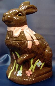 Chocolate Bunny Rabbit Cookie Jar
