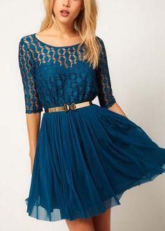 Blue Half Sleeve O Neck A Line Dress, if only the skirt were longer.