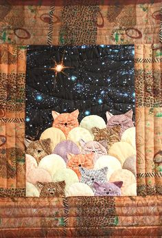 quilt, moonlight cat