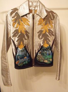 EAST WEST MUSICAL INSTRUMENTS PAPAYA SILVER LEATHER JACKET