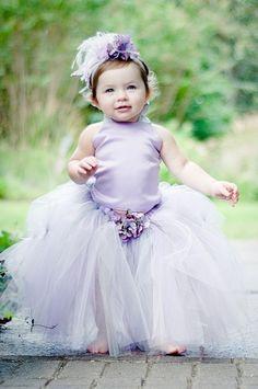 Sweet Lavender Flower Girls Tutu Dress