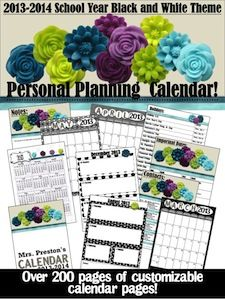 Just relisted for those of you who have the Black and White Theme!  This calendar pack is 200+ pages and has been updated!  It includes the following:~Customizable cover page~2013 and 2014 Important Dates~A blank template for you to add your own unforgettable dates in 2013 and 2014~2013 and 2014 year-at-a-glance calendars~Monthly calendars for every month in 2013 and Jan-June 2014~Weekly calendar pages (across a 2-page spread) for all of 2013 and Jan-June 2014~Blank Notes page~Contacts page!  $