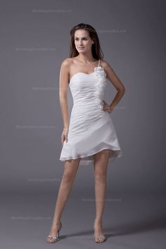 Pretty Ruffle And Rosette Single Strap Flowerish Hemed Chiffon Dress