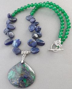 Green Malachite gemstone pendant blue Lapis by Sjewelry4u on Etsy, $14.00