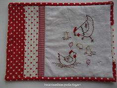 chicken, sew, jogo americano, placemat idea, color