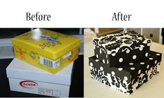 Great organizing solution on the cheap! Boxes with bottoms and lids covered with fabric.