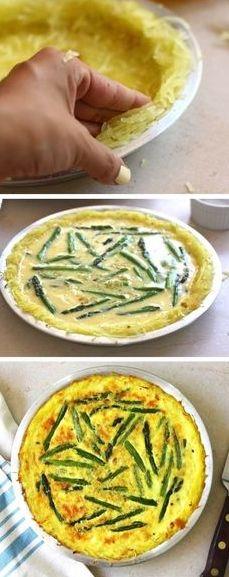 Asparagus Quiche with a Spaghetti Squash Crust