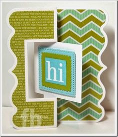 Hi created by Frances Byrne using TSOL Exclusive Fancy Edge Flip-its; Sizzix Square Flip-Its Card #2 Framelits and wordsquares2stamp – The Stamps of Life