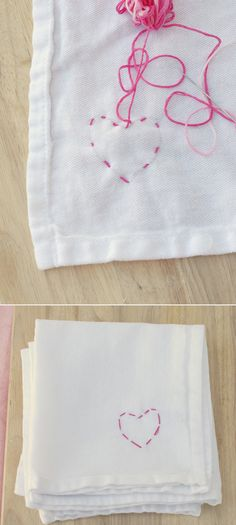 Embroidered Heart Napkins
