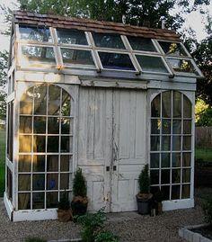 little gardens, potting sheds, old windows, greenhouses, recycled windows, modern garden design, old doors, green hous, garden houses