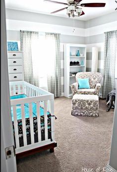 Blue and grey baby nursery