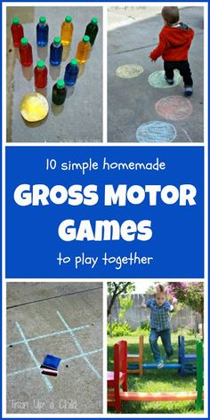 Homemade gross motor games to play with your kids.  Most take only a few moments to set up (although a few take longer).  Optimize supplies you have around the house for play with a few simple tweaks!