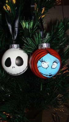 Nightmare Before Christmas Jack & Sally Ornaments