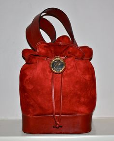 Vintage KARL LAGERFELD Authentic Large Red Suede by StatedStyle, $495.00