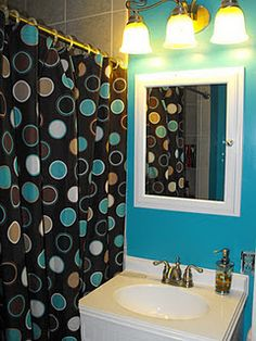 Teal bathroom for the home pinterest for Black and white and teal bathroom ideas