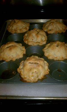 I made mini apple pies in a muffin tin - so good!!! Especially yummy if you love pie crust -- the crust-to-apple ratio is sinful. I think next time I will make them with crumb topping. I got 8 mini pies with my regular double crust pie recipe. You can also bake them in ramekins or small mason jars -- just make sure to place them on a sheet pan to catch all of the goodness that bubbles over
