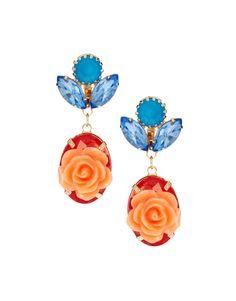 Jewel and Flower Drop Earrings