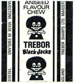 Black Jacks - liquorice/aniseed flavour chews. The earliest versions of the Black Jack wrapper depicted a smiling gollywog; a popular children's toy of the time. In fact, this is the wrapper that most children will remember from their childhood. It wasn't until the 1980s, shortly before Trebor's merger with rival confectioner Bassetts in 1990 that the wrapper was modernised and the image, considered to be politically incorrect, was removed. #trebor #blackjacks #aniseed #pennymix #sweets #1970s