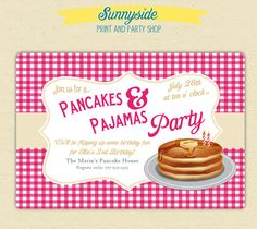 Pancakes and Pajamas Birthday Party Invites by sunnysideprintparty, $35.00