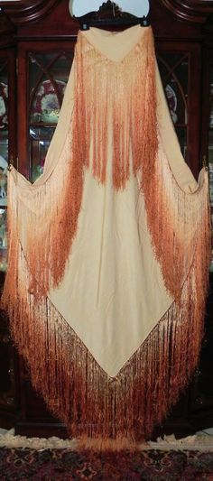 Art Deco Peach/Cream/Taupe/Orange Heavy Silk Huge Grand Manton Piano Shawl 90x90 | eBay