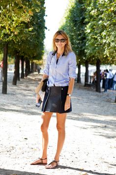 denim chambray shirt + skirt with detail
